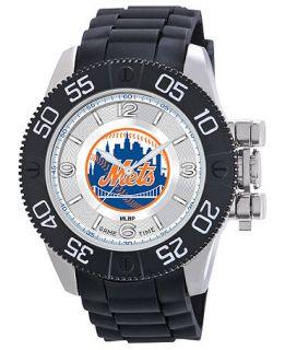 Game Time Watch, Mens New York Mets Black Polyurethane Strap 47mm MLB