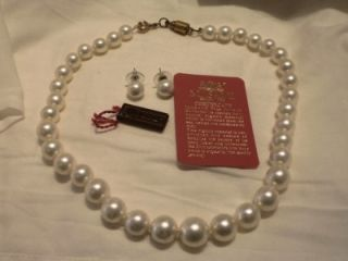 Vintage 14k Gold Masami Organic White Pearl Necklace and Earrings Set