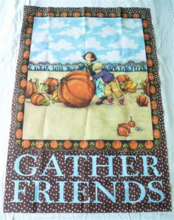 Great Mary Engelbreit Gather Friends Autumn Garden Flag. Measures 38