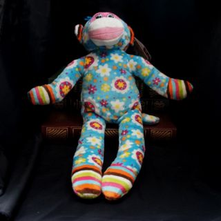 MM38460A Mary Meyer Print Pizzazz 2012 Sock Monkey Blue with Flower