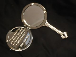 Mary Kay Miniature Silver Tone Vanity Purse Size Hand Held Mirror with