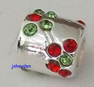Silver Red Green CZ Flowers European Beads Charms