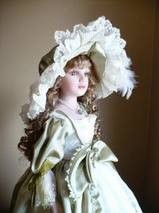 New 22 in Porcelain Doll Brown Hair Victorian Mary