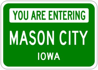 Mason City Iowa You Are Entering Aluminum City Sign