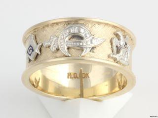 Multi Symbol Masonic Band   10k Gold Blue Lodge Shriners Scottish Rite