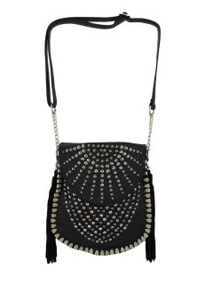 Gunmetal Rhinestone Studded Black Messenger Bag