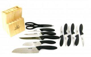 Eversharp 2 Santoku Knife Cutlery Set Block Steak Knives KM132