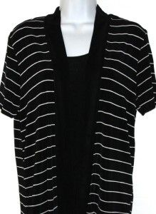 Slinky Brand Shawl Collar Cardigan Tank Set Black