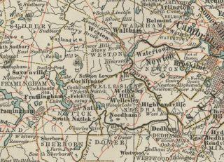 Massachusetts EASTERN Area, Around Boston Map Authentic 1897 (Dated