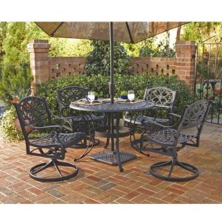 Styles 5 Piece 42 Round Outdoor Dining Set with Swivel Chairs Black