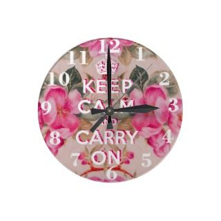 Girly keep calm..Vintage pink elegant floral roses Stickers