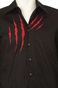 Mens New Tiger Design Graphic Hot Black Long Sleeve Button Dress Shirt