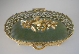 Vintage Matson Ormolu Birds Dogwood Bevel Glass Jewelry Box Casket
