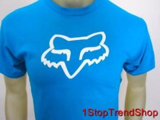 NWT Fox Racing Co logo tee shirt short sleeve mens blue sizes S/M/L
