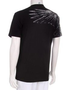 Eagle Design V Neck Animal Print Mens New Black Cotton T Shirt