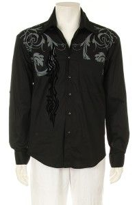 de lis with Graphic Print Design Mens Long Sleeve Black Dress Shirts