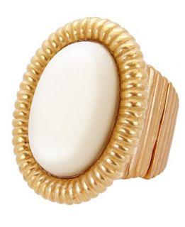 Tahari Ring, Gold Tone Ivory Bead Wrap Ring