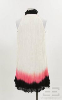 Matthew Williamson Black White Pink Creped Silk Halter Neck Dress Size