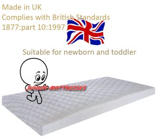 Cot Junior Bed Cot Bed Fully Breathable Nursery Foam Mattress Quilted