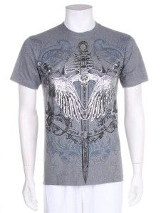 Mens Sword Print Graphic Wing Design MMA UFC New Cool White Black T