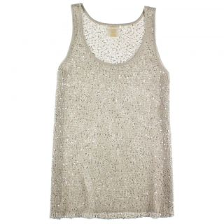 Matty M Womens Small Crochet Knit Sleeveless Top Tank w Sequins Pearl