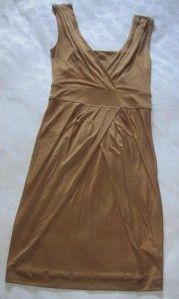 Golden Brown Banana Republic Sleeveless Versatile Silk Blend Dress S