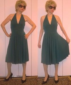 Max and Cleo Marilyn Halter Forest Green Pleated Dress Knee Length M