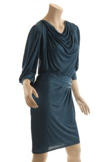 BCBG Max Azria Runway Collection Shirred Shoulder Teal Blue Dress Size