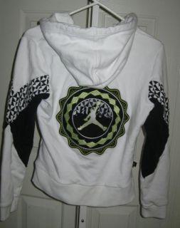Jacket Hoodie Sweatshirt M 10 12 yr White Black Limebasketball