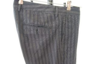 Mauro Grifoni SARTORIA Italy Navy Blue Pinstriped Pants Suit Size 6