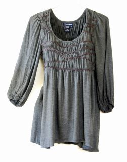 88 Max Studio XLARG16 18 Charcoal Gray Peasant Long Blouse Shirt