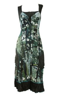 Black Blue Green Lace Front City Print Dress Miriam Size 16 18 New