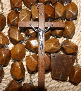 Antique Monks Rosary Handmade Wood Deluxe Catholic Incredible Find