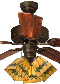 Martini 3 Light Tiffany Style Stained Glass Ceiling Fan