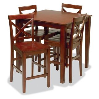 Stakmore Metro Style Pub Table and Chairs Set Cherry