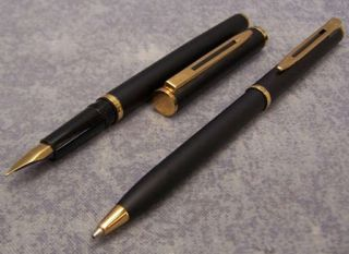 Waterman Master Matt Black Lacquer FP BP Pen Set