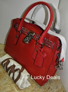 MICHAEL KORS Hamilton ROCK & ROLL SATCHEL HANDBAG RED LOCK w Dust BAG