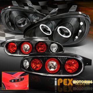 1992 1995 Mazda MX3 JDM Black Brake Tail Lamp Black Halo LED Projector