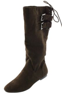 Material Girl New Bonita Brown Faux Suede Buckled Knee High Boots