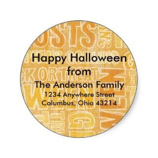 Orange Ghosts & Goblins Halloween Address Labels Round Sticker