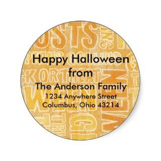 Orange Ghosts & Goblins Halloween Address Labels Round Sticker