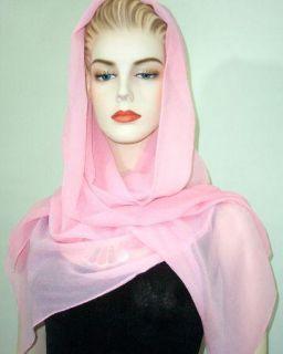 Maya Matazaro Baby Pink Silk Chiffon Shawl Wrap Scarf