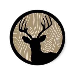 Buck Deer Black Silhouette  Any Color Wood Grain Sticker