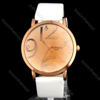 Leather Band Women Big Numbers Analog Quartz Wrist Watch