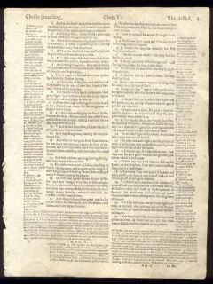 1599 Geneva Quarto Roman Letter Bible Leaf Matthew 5 Beatitudes