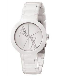 Armani Exchange Watch, Womens White Plastic Bracelet 34mm AX4055