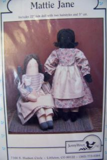 Wren Folk Rag Doll Pickaninny Mammy Mattie Jane Pattern Clothes too FF