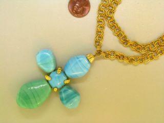 Signed Judith McCann Cross Natural Blue Green Banded Agate Vintage