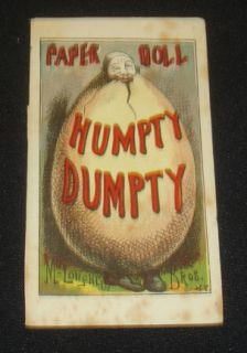 McLoughlin Brothers NY Humpty Dumpty Paper Doll Collectors Must L K