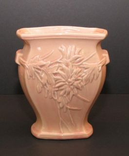McCoy Pottery Antique Vintage 7 inch Vase Pink Floral Design 1940 Mark